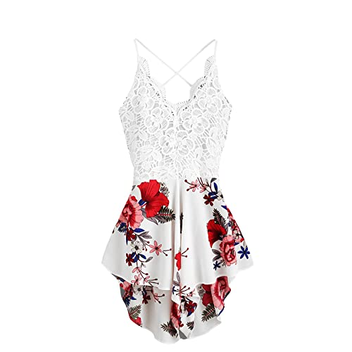 8f929f7cd44 SHEIN Women s Boho Crochet V Neck Halter Backless Floral Lace Romper  Jumpsuit