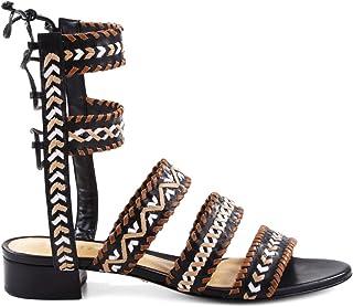 30af558e806274 SCHUTZ Corgi Saddle Flat Tie Back Gladiator Sandal Embroidered  Whip-Stitching Black