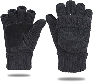 EGOGO Knit Convertible Fingerless Gloves Warm Wool Mittens Suede Thermal Insulation Mittens For Men and Women E605-1