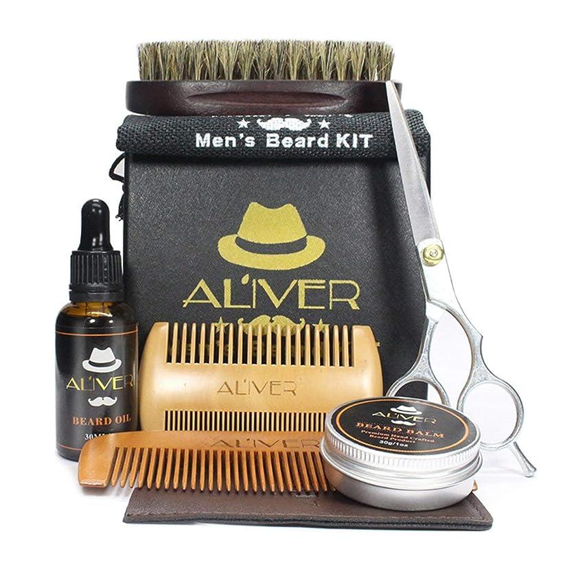 重要性祖父母を訪問アルネIntercorey Beard Care Kit髭櫛毛ブラシスタイリングはさみ髭クリームオイル6個セット安全非毒性