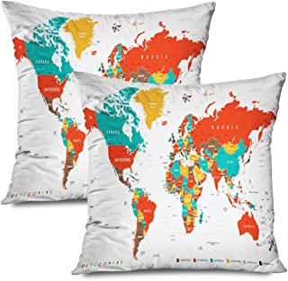 Ahawoso Set of 2 Throw Pillow Covers Square 20x20 Green Red Yellow Brown World Map Borders Transportation Business UK Finance Nimage Pacific Middle Zippered Pillowcases Home Decor Cushion Cases