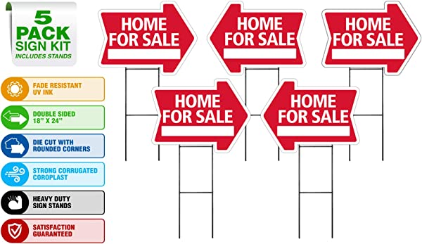 Home For Sale Sign Kit 5 Pack Die Cut Arrow Shape HD Stands Durable Corrugated Coroplast UV Colorfast Ink Unconditional Guarantee Made In USA Real Estate Agent Supplies 5 18x24 Signs 5 Stands