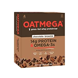 OATMEGA Protein Bar, Chocolate Brownie, Energy Bars Made with Omega-3 and Grass-Fed Whey Protein, He