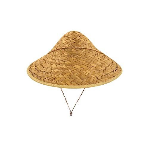 Adults Straw Coolie Hat Unisex Chinese Oriental Fancy Dress Costume Accessory