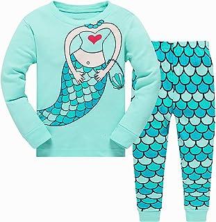 Conjunto de pijama para niños y niñas que brilla en la oscuridad, unicornio, sirena, ropa de dormir de manga larga, pijama...