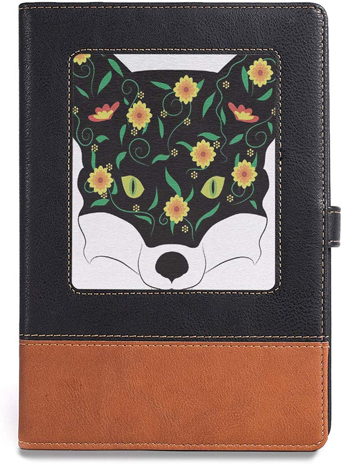 Soft Cover Notebook,Fox,A5(6.1  x 8.6 ),Perfect Portfolio for Your Interviews Resumes,Artistic Fox Portrait Face with Summer Meadow Flowers,