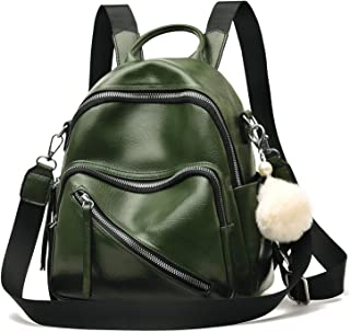 Backpack Purse for Women Large Capacity Cute Small Backpack Leather Shoulder Bag with Pom Pom
