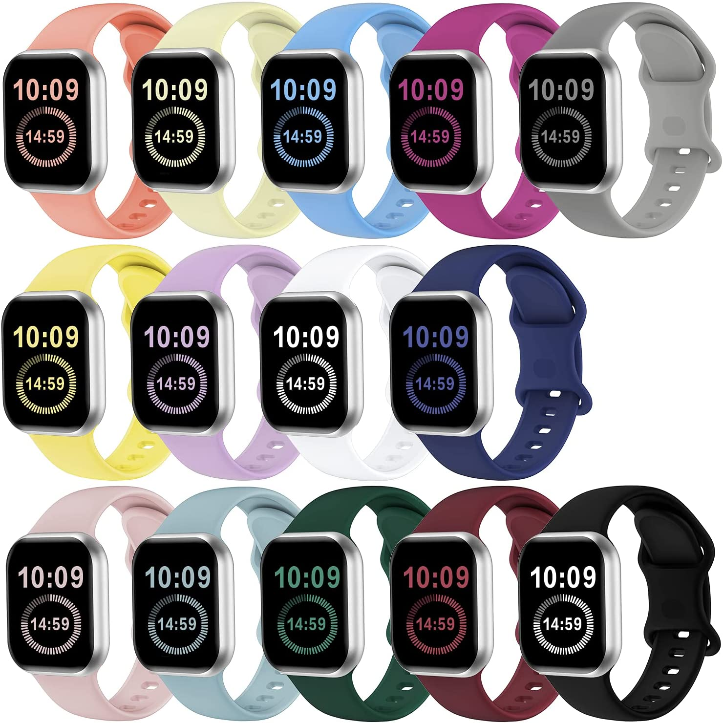 SWHAS Watch Bands Compatible with Apple Watch Bands 38mm 40mm 41mm Women Men, Soft Silicone Wristbands Replacement Strap Compatible with iWatch Series 7 6 5 4 3 2 1 SE, 14 Pack