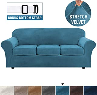Modern Velvet Plush 4 Piece High Stretch Sofa Slipcover Strap Sofa Cover Furniture Protector Form Fit Luxury Thick Velvet Sofa Cover for 3 Cushion Couch, Machine Washable