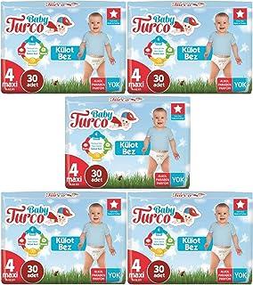 Baby Turco Külot Bebek Bezi Jumbo Beden:4 (8-18Kg) Maxi 150 Adet (5Pk*30)