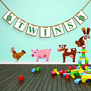 [USA-SALES] Twins Baby Shower Banner Garland, Baby shower Decorations, Photo Booth Props, New Contemporary Design from UsASales Seller