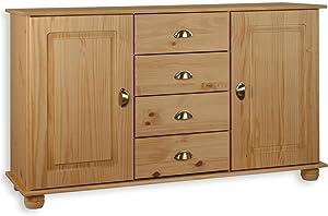 IDIMEX Buffet COLMAR commode bahut vaisselier rangement avec 4 tiroirs au centre et 2 portes battantes en pin massif finition teintée/cirée