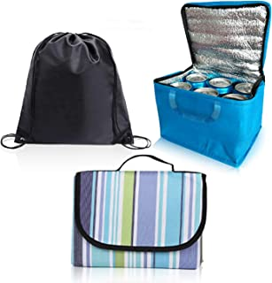 Picnic and Camping set, Extra Large 200 x 150cm Picnic & beach Blanket and waterproof lunch bag & camping cooler, extra dr...