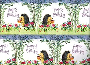 Alex Clark Hedgehog Rolled Birthday Gift Wrap Paper 4 Sheets 19.5 in x 27.5 in with 4 Gift Tags