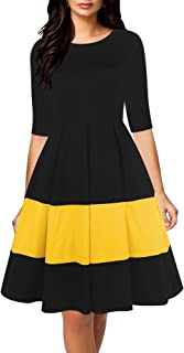 oxiuly Women's Vintage Half Sleeve Round Neck Contrast Casual Pockets Party Cocktail Swing Dress OX253