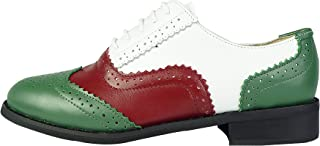 LaRosa Women's Classical Leather Wing-up Brogues Flat Lace-up Oxford Shoes (6.5, Green Wine White)