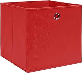 Tidyard Lot de 10 Boîtes de Rangement Pliables Cube de Rangement Tissu intissé 28x28x28 cm Rouge