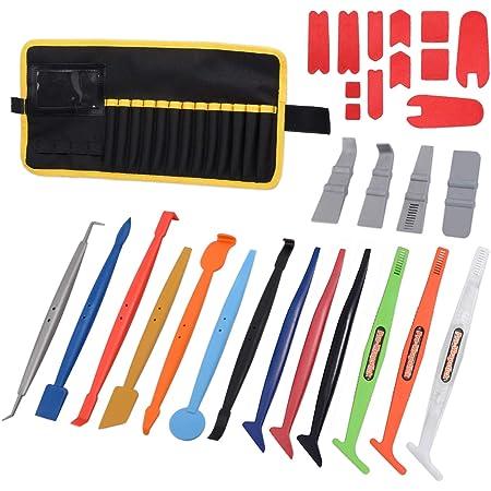 Winjun Autofolie Wrap Stick Micro Mini Rakel Set Mit Microfaser Kante Für Folierungs Installation Werkzeug Auto