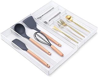 Range Couverts pour Tiroir Extensible, 7 Compartiments Rangement Couverts pour Tiroir Organisateur Tiroir Cuisine Modulabl...