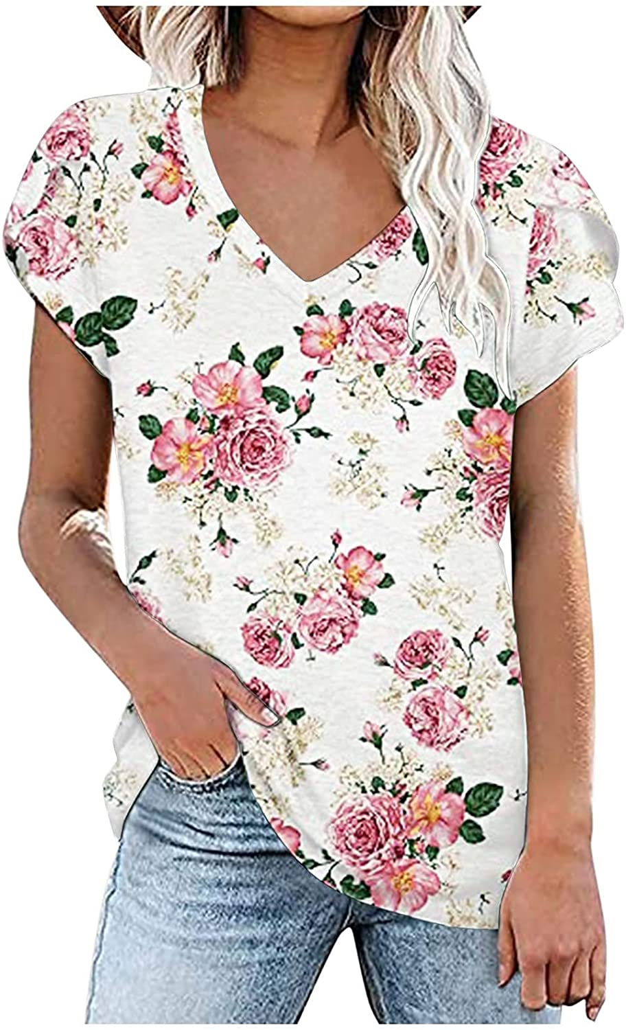 Womens Lace-up Loose Casual Tops V Neck Summer Petal Sleeve T-Shirts Short Sleeves Blouse