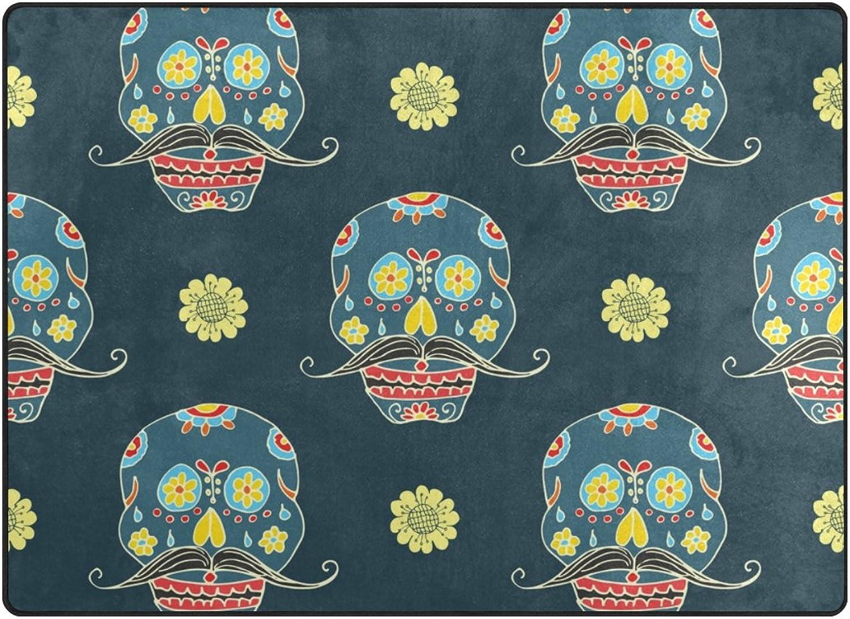 SUABO 80 x 58 inches Area Rug Non-Slip Floor Mat Sugar Skulls Printed Doormats for Living Room Bedroom