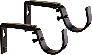 Meriville Set of 2 Oil-Rubbed Bronze Curtain Drapery Rod Bracket for 1 1/4-Inch Rod, Adjustable