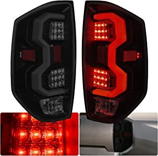 AJP Distributors LED Tube Tail Lights Light Lamps Brake Turn Signal For Toyota Tundra 2014 2015 2016 2017 2018 2019 14 15 16 17 18 19 (Black Housing White Tube Smoke Lens)