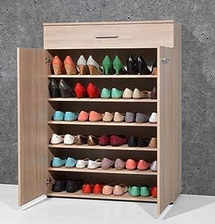PEGANE Armoire Meuble à Chaussures chêne Sonoma avec 2 Portes et 1 tiroir, L 89 x H 120 x P 37 cm