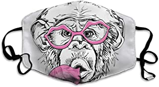 Lcokin Monkeys Spit Bubblegum in Sunglasses Comfortable Breathable Mask, Universal Respirator Mask for Men and Women to Protect The Face