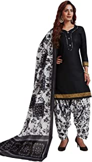 S Salwar Studio Women's Black & White Cotton Printed Readymade Patiyala Suit Set-SSCELEBRATION-1017