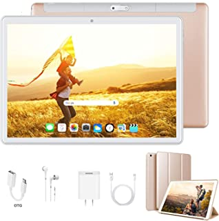 Tablet 10 Inch, Dual 4G LTE, 5G WiFi, Quad-Core, Android 9.0 Tablet PC, 3GB RAM 32GB ROM/128GB Computer Tablets, 8500mAh Battery, Dual 8MP Camera, Bluetooth/GPS/OTG Unlocked Tablet (Gold)