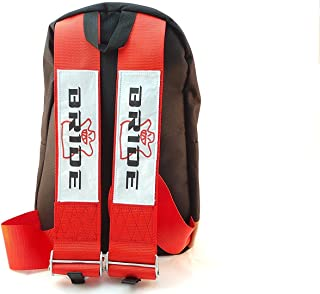 Bride JDM Racing Backpack Racing Harness Shoulder Straps Zipper Pockets w Padded Computer Compartment (Bride Logo Red Straps)