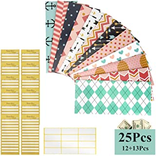12 Pieces Budget Envelopes, Colovis Cash Envelope System for Cash Saving Money Budget Plus 12 Pieces Budget Sheets and 1 Piece Label Sheet