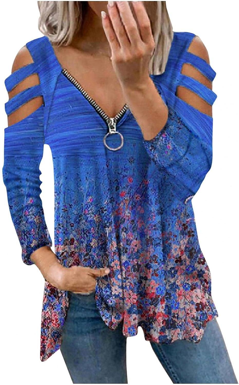 POLLYANNA KEONG Long Sleeve Shirts for Women,Women Casual Zipper Front V Neck Long Sleeve Cold Shoulder Tunic Tops
