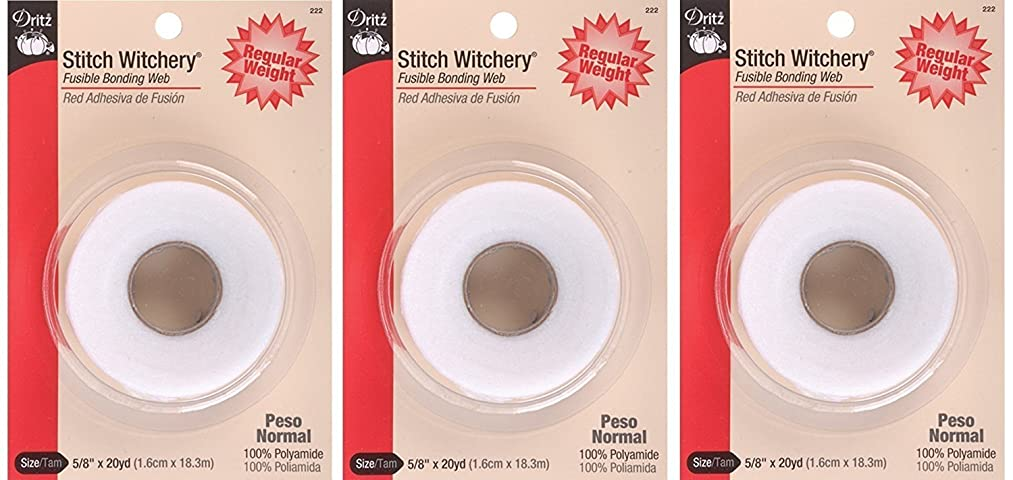 Dritz 222 5/8-Inch by 20-Yard Stitch Witchery, Regular (3 Pack)
