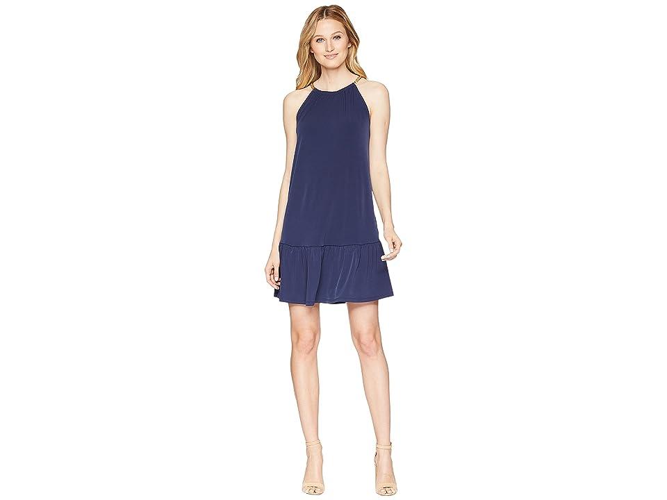 MICHAEL Michael Kors Solid Chain Halter Dress (True Navy) Women