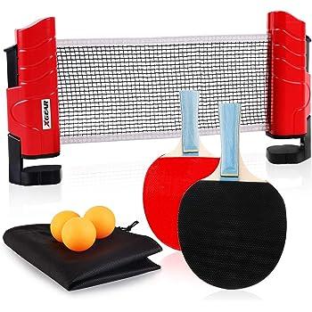 XGEAR Juego de Ping Pong con 2 Raquetas + 3 Bolas Pelotas Tenis de ...