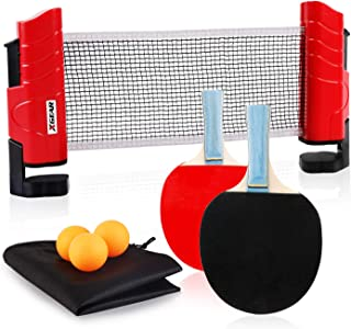 XGEAR Juego de Ping Pong con 2 Raquetas + 3 Bolas Pelotas Tenis de Mesa + 1 Red Retráctil + 1 Bolsa Conjunto de Pingpong Set Portátil para Interior al Aire Libre Regalo