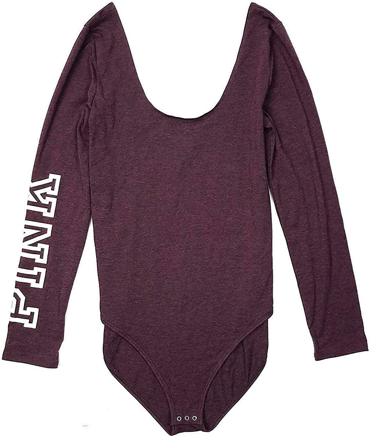 Victoria's Secret Pink Scoop Neck Bodysuit Tank Long Sleeve Color Maroon Size XSmall NWT