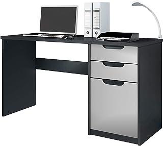 Vladon Escritorio Mesa para computadora Mueble de Oficina Logan Cuerpo en Negro Mate/frentes en Gris Claro Satinado