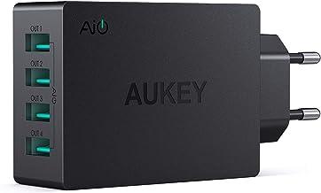 AUKEY Cargador USB con Tecnología AiPower 40W 8A 4 Puertos Cargador Móvil para iPad Air / Pro, iPhone X / 8 / 8 Plus, Samsung, HTC, LG, Tabletas y otros Dispositivos USB (Negro)