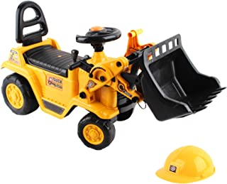 Keezi Kids Ride On Toy Car Bulldozer Digger Tractor Excavator Car with Helmet