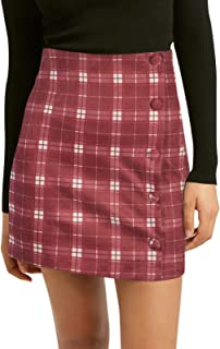 NIMIN Women's High Waist Plaid Skirt Casual Zipper Back Faux Suede Skirt A-Line Mini Skirt with Buttons