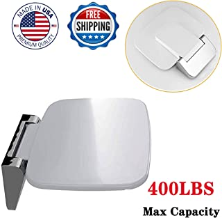 Zhanrui Modern Folding Shower Seat Stylish Attachment -Wall Mount Foldable Fold Up Chair Bathroom Stool Foldaway Shower Seating Mounted Chrome Brackets-Premium Smooth Finish Holds Up to 400 Lbs