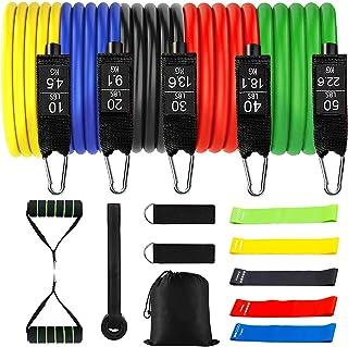 Tumax Weerstandsbanden, Training Fitnessbanden met Handvat, 18 Stuks Trainingsbanden Stapelbaar tot 150lb, Indoor/Outdoor ...