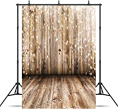 SJOLOON 5x7ft Rustic Wood Vinyl Photography Backdrop Nostalgia Wood Floor Photo Backdrop..