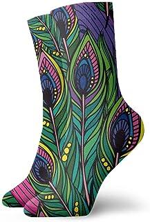 Patrón de plumas de pavo real brillante Calcetines de compresión de equipo clásico Tejido plano Casual Calentamiento atlético 30 cm Ligero