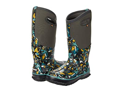 Bogs Classic Tall Wild Flower (Dark Gray Multi) Women