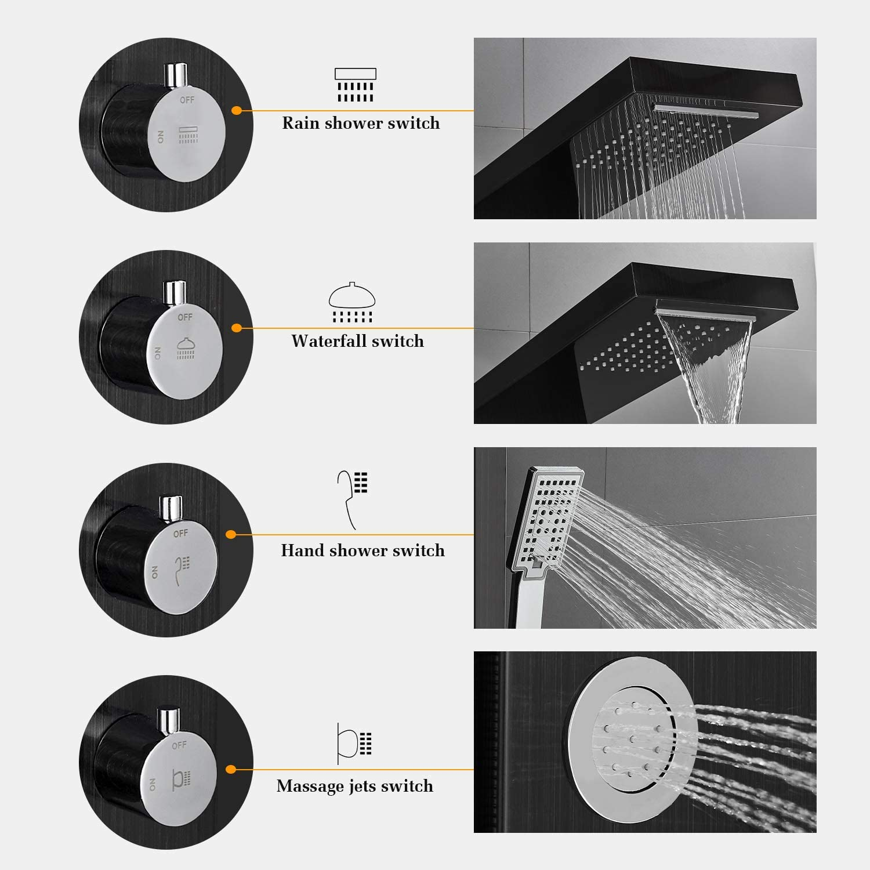 87,9-139,9 cm Conjunto de Ducha de Acero Inoxidable BONADE Columna de Ducha Termost/ática Sistema de Ducha Redondo Cromado con Termostato y Grifo de Ba/ñera Barra Ajustable en Altura
