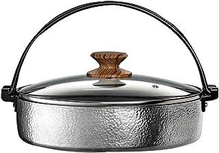谷口金属工業 すき焼き鍋 ガラス蓋付 IH対応 アルミ 26cm 打ち出し 槌目 お手入れ簡単